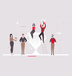 Colleagues celebrating victory - flat design style vector