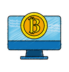 Computer technology with bitcoin currency inside vector
