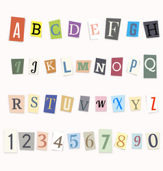 cut letters of the alphabet and numbers vector image