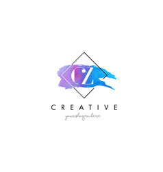 Cz artistic watercolor letter brush logo vector