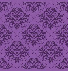damask tiled purple textile seamless pattern vector image