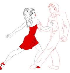 Dancers lines salsa vector