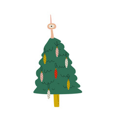 decorated christmas tree happy new year symbol vector image