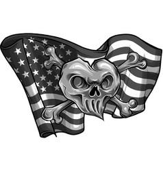 design skull and flag usa vector image