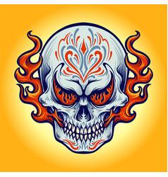dia de los muertos fire skull vector image