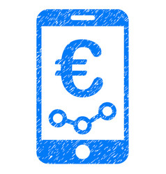 Euro mobile report icon grunge watermark vector