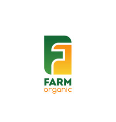 farm organic company letter f icon vector image