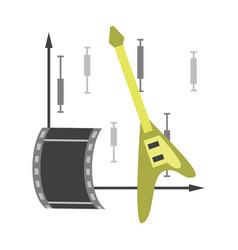 Flat icon on stylish background music and cinema vector