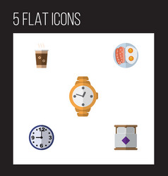 flat icon oneday set of watch fried egg vector image