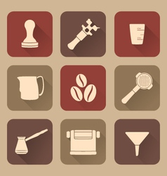 Flat style white coffee barista instruments icons vector