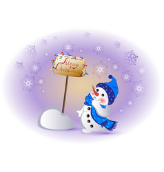 funny snowman for winter holidays christmas vector image