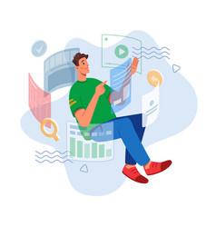 futuristic future online learning virtual world vector image