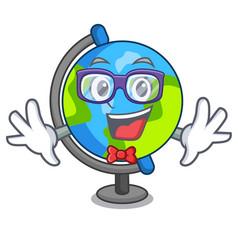 geek globe character cartoon style vector image