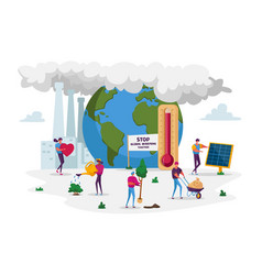 Global warming concept characters care plants vector