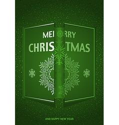 Green merry christmas greeting vector