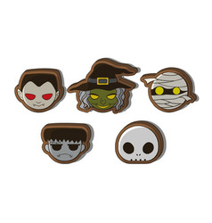 Halloween cute cartoon character cookies vector