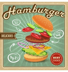 Hamburger retro poster vector