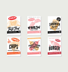 Hand drawn fast food posters vector