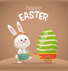 happy easter card bunny carrying egg vector image