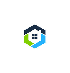 hexagon house logo icon design vector image