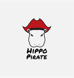 Hippo with hat pirate logo design vector