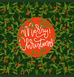 holiday frame with lettering greeting text - merry vector image