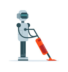 Housemaid android character with vacuum cleaner vector