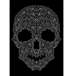 human skull from Floral elements on a black vector image
