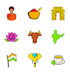 indian lotus icons set cartoon style vector image