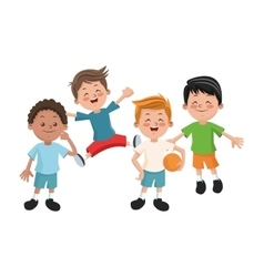 Isolated boys cartoons design vector