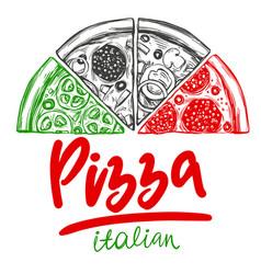 italian pizza set pizza design template logo vector image