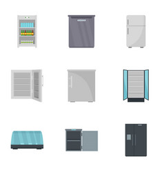 kitchen fridge icon set flat style vector image