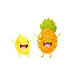 Lemon and pineapple cartoon friends vector