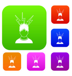 Lightning above the head of man set collection vector