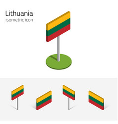 Lithuania flag set of 3d isometric icons vector