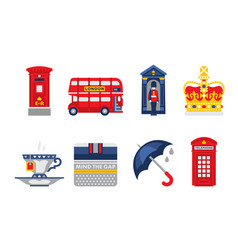 London symbols set england elements red bus tea vector