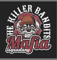 mafia gangsterbandits with letter killer vector image