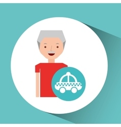 Man elderly travel concept and taxi design graphic vector