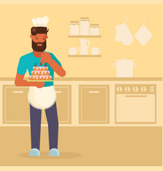 man making cake in flat style vector image