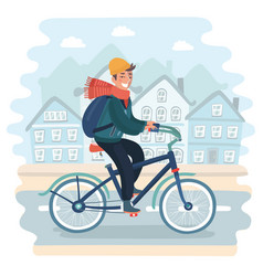 Man riding bicycle in urban landscape vector