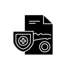 medical report black icon sign on isolated vector image