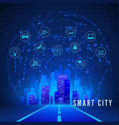 modern smart city concept in blue colors smart vector image
