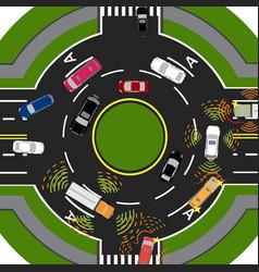 Movement of autonomous smart cars scanning roads vector