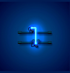 Neon city font sign number 1 signboard one vector