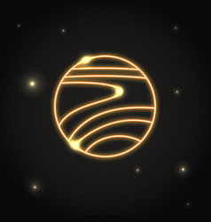 neon planet venus icon in thin line style vector image