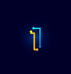 number 1 in blue and orange color for logo icon vector image