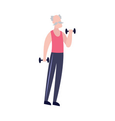 old man lifting dumbbell weights - healthy workout vector image