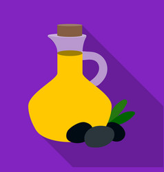 olive oil bottle with flat olives icon in flat vector image