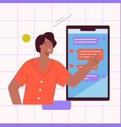 online communication in messenger concept vector image