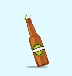 Opening beer bottle on a blue background vector